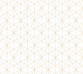 Golden Lines Pattern. Vector Geometric Seamless Texture With Delicate Grid, Thin Lines, Hexagons, Tr poster