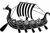 foto of viking  - Ancient vikings ship with shields stencil vector illustration - JPG
