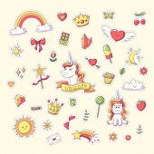 Unicorn Sticker With Heart, Clouds, Rainbow, Sun, Moon And More. Set Of Cute Cartoon Characters. Vec poster