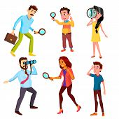 Curious Characters Looking Information Set Vector. Woman And Man Searching Through A Magnifying Glas poster