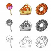 Isolated Object Of Confectionery And Culinary Sign. Set Of Confectionery And Product Stock Symbol Fo poster
