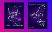 Trance Event. Dynamic Gradient Shape And Line. Geometric Concert Brochure Set. Neon Trance Event Fly poster