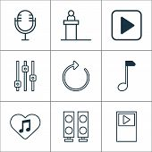 Multimedia Icons Set With Refresh, Scene, Amplifier And Other Clef Elements. Isolated Vector Illustr poster