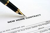 stock photo of real-estate agent  - Close up of fountain pen on Home contract - JPG