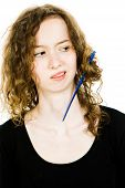Teenaged Blond Girl With Hair Having Tangled Hair Dressing Problem - Combing Curly Hair, Jammed Comb poster