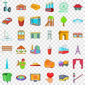 Capital Icons Set. Cartoon Style Of 36 Capital Vector Icons For Web For Any Design poster