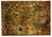 Pirate Map Of Fantasy Lands With Dragons And Mermaids. Hand Drawn Graphic Illustration Of World Atla poster
