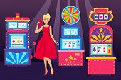 Girl In Elegant Dress With Phone Visiting Casino Place Banner Vector Illustration. Win Jackpot In Ga poster