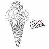 Vector Ice Cream For Coloring Book For Adult And Kids poster