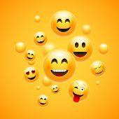 Emoji 3d Emoticon Background. Cartoon Face Group Smiley Happy Friendship Emoji Funny Design Concept poster