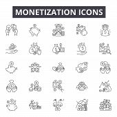 Monetization Concept Line Icons, Signs, Vector Set, Linear Concept, Outline Illustration poster