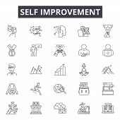 Self Improvement Line Icons, Signs, Vector Set, Linear Concept, Outline Illustration poster