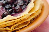 Baking Pancakes. Pancake In A Pan With Blueberry Jam. Russian Pancakes. Pancake Week. Ingredients Fo poster