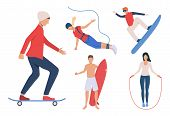 Set Of Outdoor Activities. Men And Women Snowboarding, Skateboarding, Surfing, Jumping Rope. Activit poster