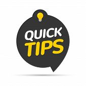 Quick Tips Icon Badge. Top Tips Advice Note Icon. Idea Bulb Education Tricks poster