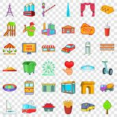 Metropolis Icons Set. Cartoon Style Of 36 Metropolis Vector Icons For Web For Any Design poster