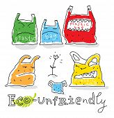 Eco unfriendly, vector drawing