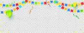 Banner With Streamers, Confetti And Garlands Of Multi Colored Hanging Flags. Vector Checkered Backgr poster