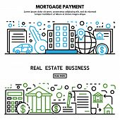 Mortgage House Banner Set. Outline Set Of Mortgage House Vector Banner For Web Design poster