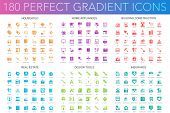180 Vector Trendy Perfect Gradient Icons Set Of 180 Modern Thin Line Icons Set Of Household, Home Ap poster
