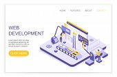 Web Development And Design Infographics. Desktop Website And Mobile Website Concept With People 3d I poster