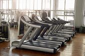Gym Interior With Sport Equipment. Treadmill At Modern Gym. Equipment For Cardio Training. poster