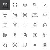Creative Process Design Line Icons Set. Linear Style Symbols Collection, Outline Signs Pack. Vector  poster