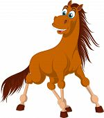Illustration Of Standing Brown Horse With Long Tail. Surprised Horse Isolated On White Background. F poster