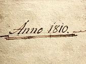 stock photo of annal  - a photo of a old handwriting written Anno 1810 - JPG