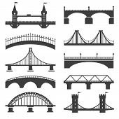 Bridge Icons. Bridges Vector Silhouettes With Pillars And Bridging Towers, Concrete Promenade And Mo poster