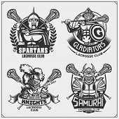 Lacrosse Club Emblems With Ancient Warriors. Print Design For T-shirt. poster