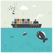 sea transport - cargo - creative illustration in modern style
