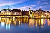 Luzern Kapelbrucke And Riverfront Architecture Famous Swiss Landmarks Evening View, Famous Landmarks poster