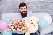 She Deserve All Best. Romantic Man With Flowers And Teddy Bear Sit On Couch With Air Balloons Waitin poster