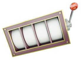 pic of slot-machine  - Fruit machine with 4 blank reels over white background - JPG