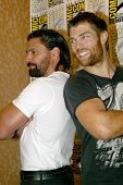 SAN DIEGO, CA - JULY 13: Manu Bennett and Liam McIntyre arrives at the 2012 Comic Con convention pre
