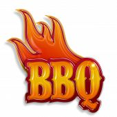 pic of bbq party  - hot barbecue label isolated on white background - JPG