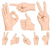 Collection of hand gestures. Rasterized version of vector illustration  ID: 84096865