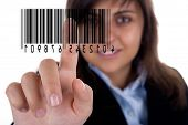 Businesswoman Pressing Barcode