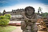 Stone statue in Penataran temple, Blitar, Java, Indonesia