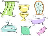 Illustration of Home Furnishings Featuring a Shower Curtain, a Toilet Bowl, a Bath Tub, a Pillow, a Vase, a Lavatory, and a Window
