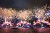 foto of sea-scape  - beautiful firework on Victoria Harbor Hong Kong - JPG