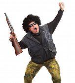 Angry loser with shotgun. Gun control concept.