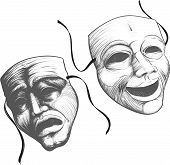 stock photo of comedy  - Two classic theater masks a sad and joyous - JPG