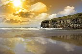 Ballybunion Beach And Cliffs Wth Atlantic Sunset