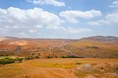image of samaria  - Meandering Road in Sand Hills of Samaria Israel - JPG