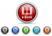 e-book glossy icons set on white background