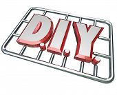 The letters D I Y in a model kit to symbolize a do it yourself attitude in taking on a project and l
