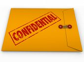 A yellow envelope with a red stamp with the word Confidential containing information that is a secre