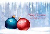 Plano de fundo de Natal com duas bolas coloridas e pingentes. Ilustração vetorial.
